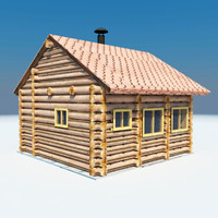 3d model wooden house sauna
