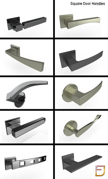 3d square door handles model