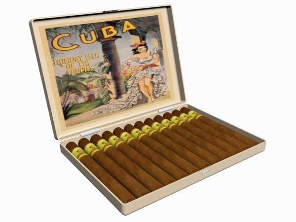 3d model cuba cigar case