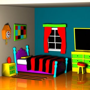 cartoon bedroom interior 3d max