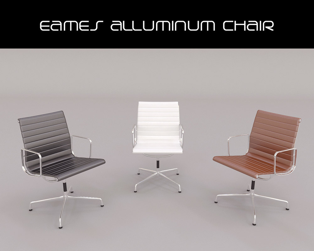 realistic eames alluminum chair 3d model