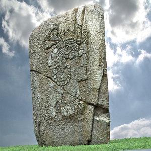 3d aztec stone model