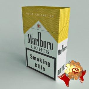 pack marlboro cigarettes 3d model