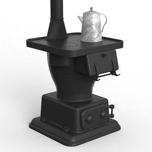 3d potbelly stove model