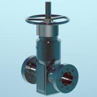 3d valve oil pipeline model