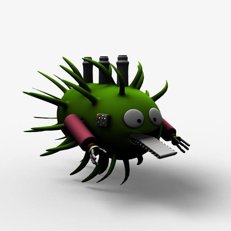 cartoon bacteria factory 3d lwo