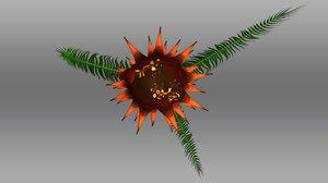 bulbil cycas circinalis 3d model