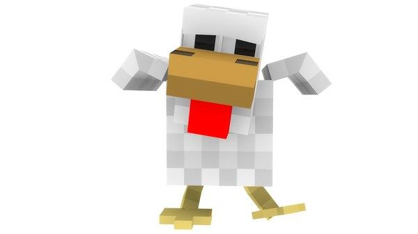rig minecraft chicken 3d c4d