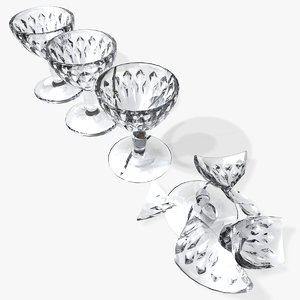 glasses smashed chipped 3d model