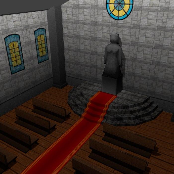 3d medieval church interior