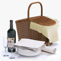 Picnic Basket with Wine Bottle and Glasses