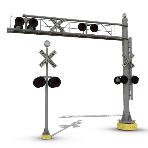 3d model railroad crossing signal