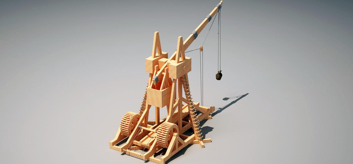 3d trebuche medieval siege model
