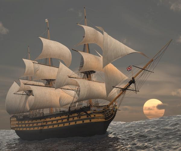 hms victory ship 3d max