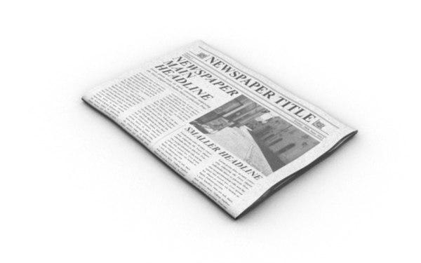 editable folded newspaper 3ds