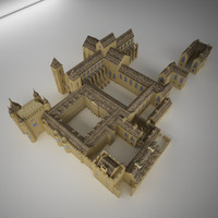 medieval castle palace cathedral 3d model