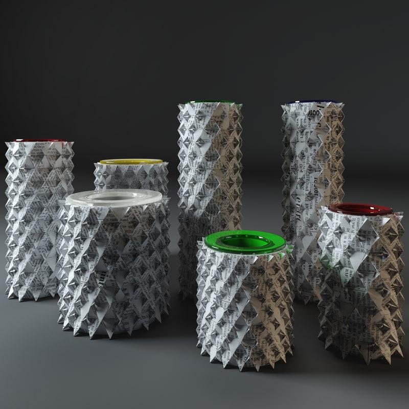 3d palmas origami vase