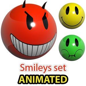 3d model glowing smileys loaders set