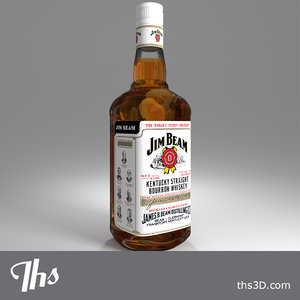 jim beam bottle whiskey obj