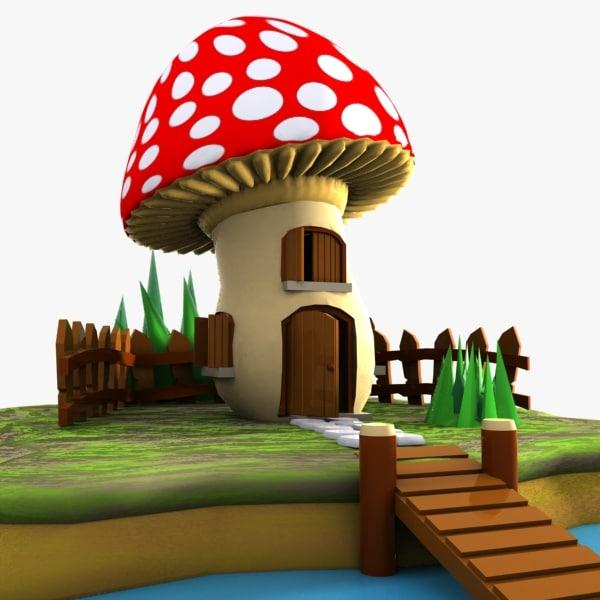 mushroom house 3d 3ds