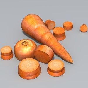 3d carrot sliced