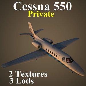 cessna 550 pvt 3d model