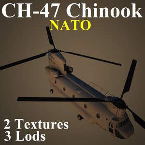 3d ch-47 chinook nat helicopter model