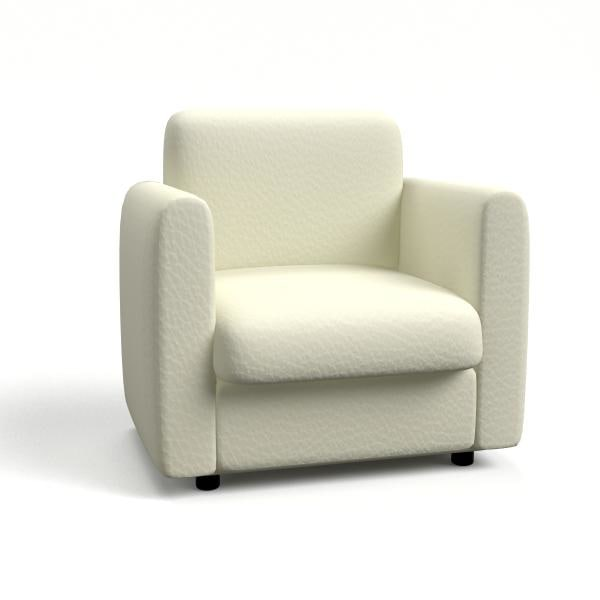 3d model modern white leather chair