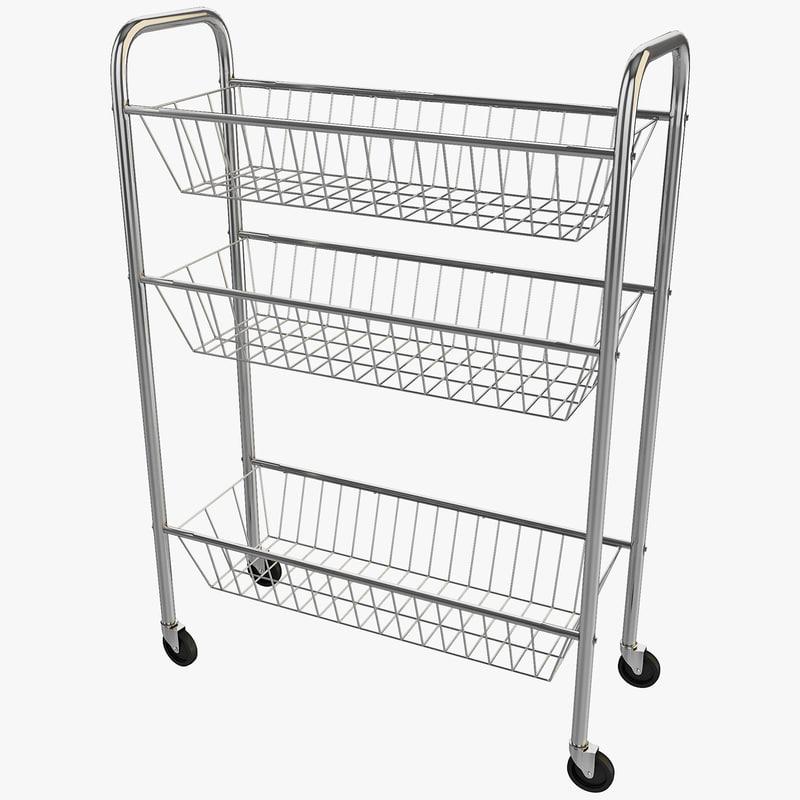 3d model rolling kitchen cart 3-tier