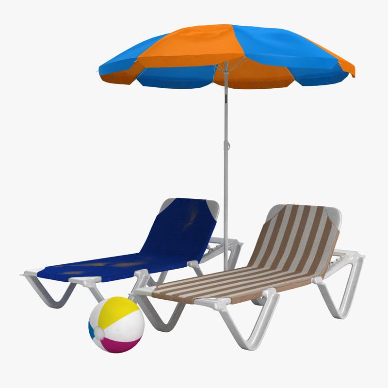 sunbathing beach chair umbrella 3d model