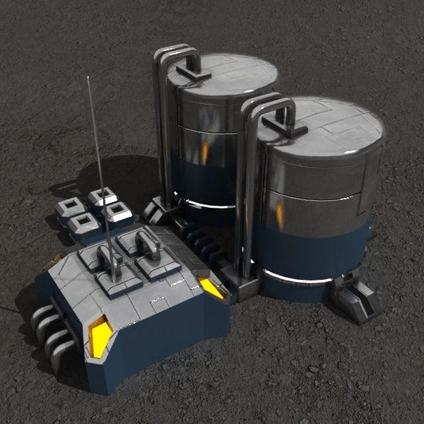 3d factory sci-fi building model
