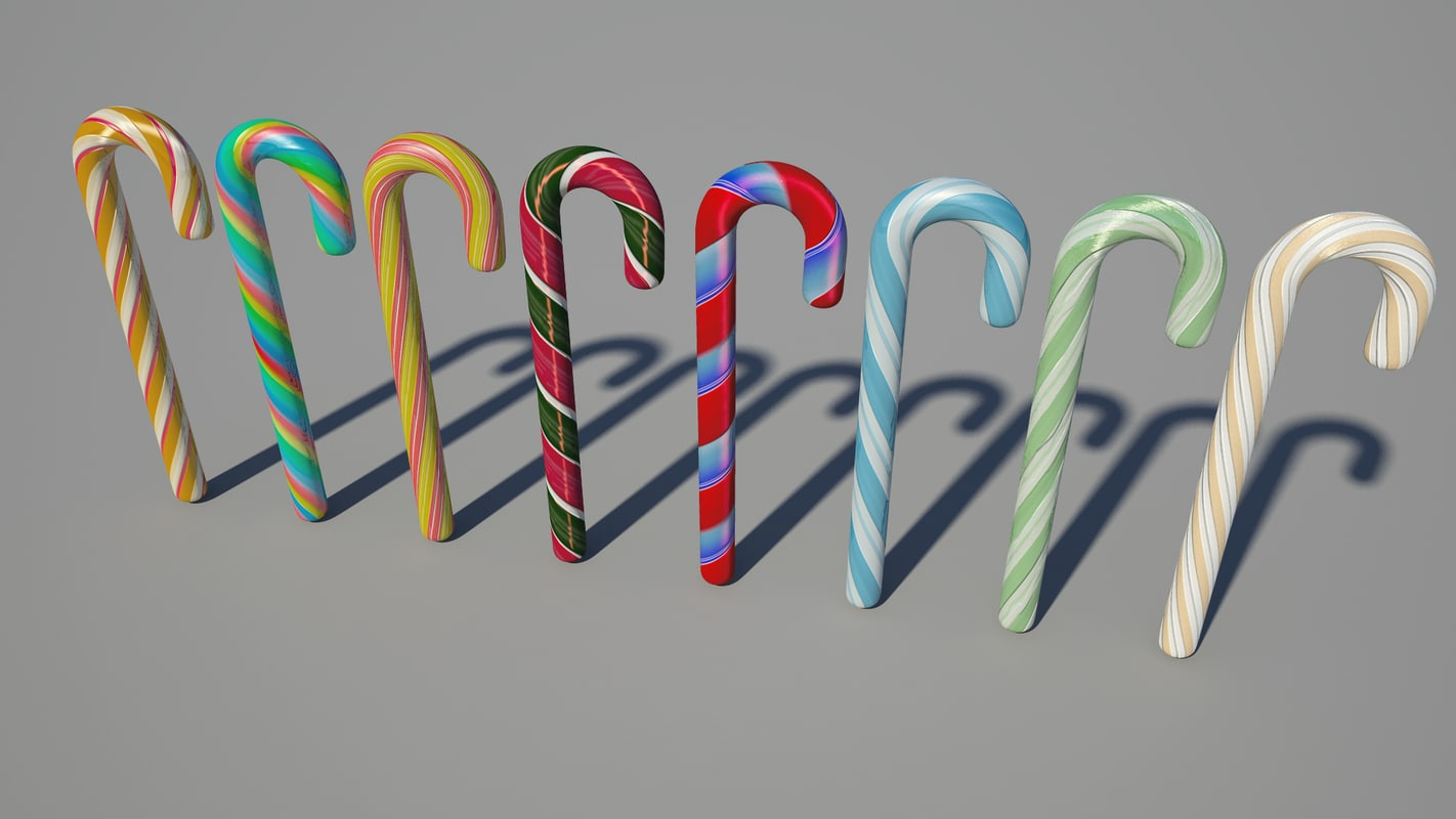 8 candy canes obj
