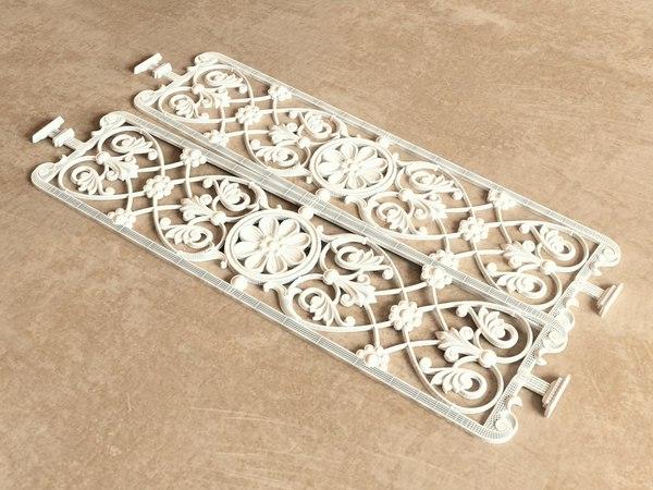 3d model ornamental grille vegetable