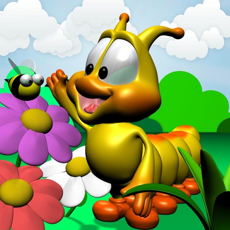 cute cartoon caterpillar character rigged 3d model
