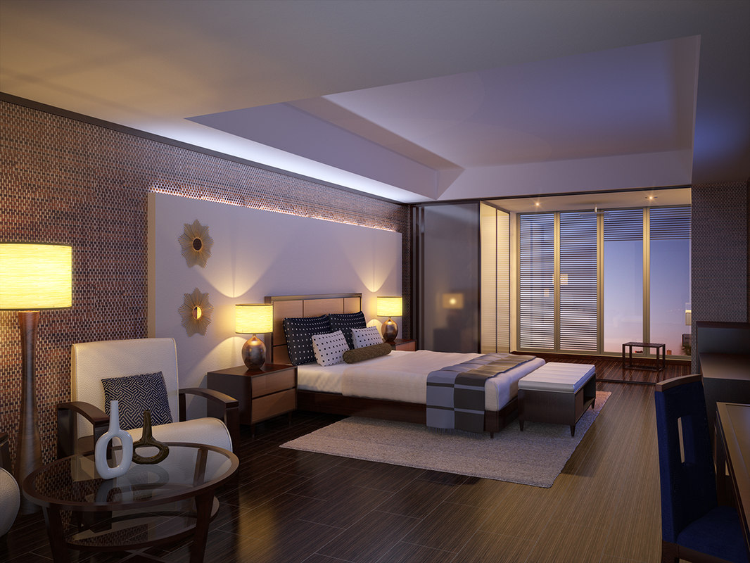 Interior scene modern hotel room 3d max for Hotel room interior