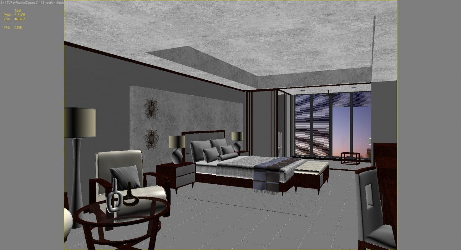 Modern hotel room  Interior scene