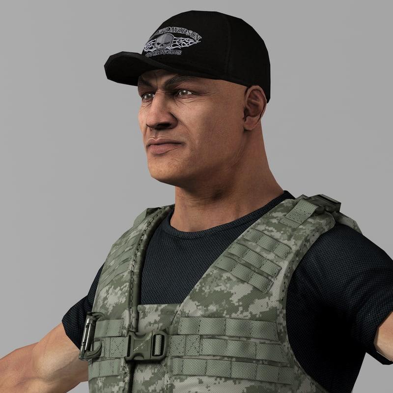 soldier mercenary set 4 3d model