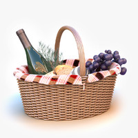 Picnic Basket with Wine Bottle