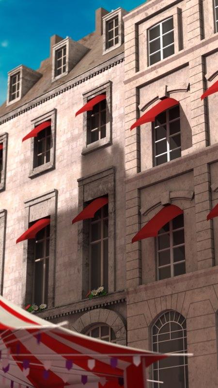 3d obj parisian buildings