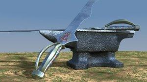 3d sword anvil model