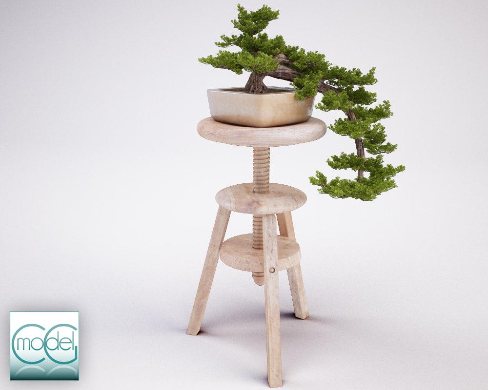 3d model bonsai stool