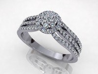 Pave 3 Side Diamond Ring