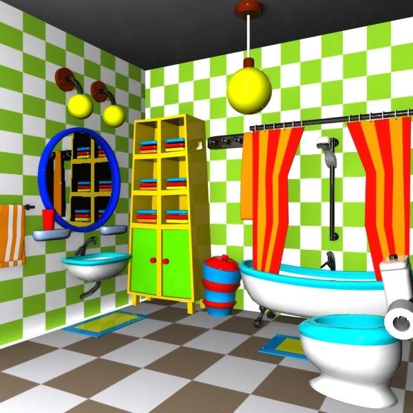 3d cartoon bathroom interior model for 3d bathroom drawing