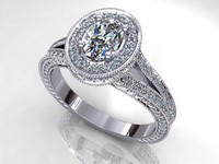 Oval Halo Side Diamond Ring