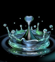 3d drop heart water