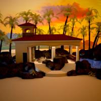 3d cabana pool model
