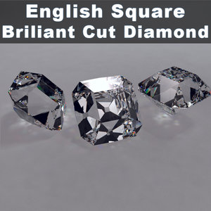 3d model english square cut brillinat