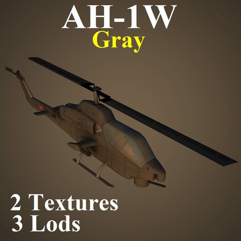 3d ah-1w gry attack helicopter model