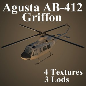 max agusta ab-412 low-poly