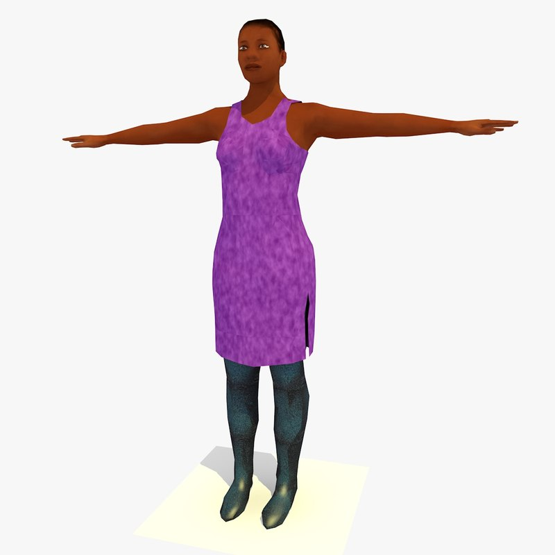 realistically african female body 3ds